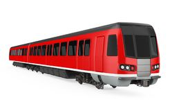 Red Commuter Train Isolated. On white background. 3D render royalty free illustration