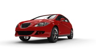 Red Compact Car Front Side Royalty Free Stock Photography
