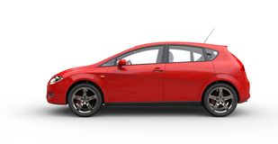 Red Compact Car Stock Photo