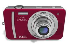 Red compact digital camera Stock Photos