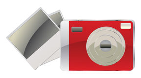 Red digital camera and photo cards Stock Images