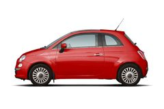 Red compact hatchback stock photo