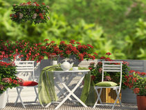 Red composition on the balcony Royalty Free Stock Images