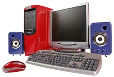 Red computer with blue acoustic systems. Red computer with keyboard, display, mouse and blue acoustic systems on white background Stock Photos