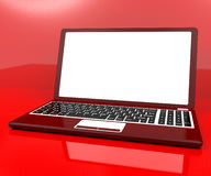 Red Computer On Desk With White Copyspace Royalty Free Stock Photos