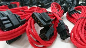 Red computer gaming cables wires Royalty Free Stock Photos