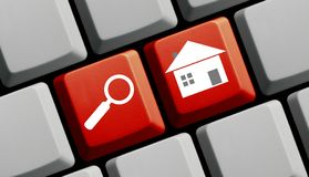 Red Computer Keyboard: Search Real Estate royalty free stock images