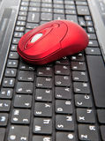 The red computer mouse on the black keyboard Royalty Free Stock Photography