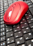 The red computer mouse on black keyboard. The red computer mouse on the black keyboard stock image