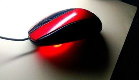 Red Computer Mouse Stock Photo