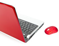 Red computer mouse and red notebook Stock Photo