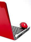 Red computer mouse and red notebook. Still-life on a white background royalty free stock photography