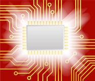 Red computer scheme background Stock Photo