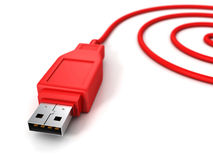 Red computer usb spiral cable on white Royalty Free Stock Photos