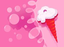 Red con ice-cream. With cherry on a splashing background Stock Photo