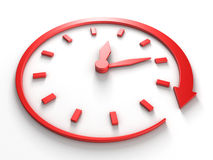 Red concept clock dial with around arrow Royalty Free Stock Images