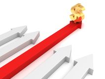 Red concept golden dollar currency red arrow rising forward leader Royalty Free Stock Image