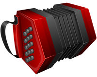 Red concertina. Vector illustration red concertina isolated on white Stock Photo