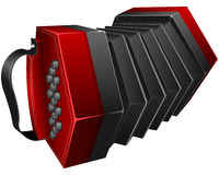 Red concertina. Vector illustration red concertina isolated on white Stock Image