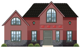 A red concrete house. Illustration of a red concrete house on a white background Royalty Free Stock Images