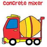 Red concrete mixer cartoon vector Royalty Free Stock Image