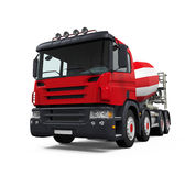 Red Concrete Mixer Truck Royalty Free Stock Images