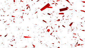 Red Confetti on white Background - Slow Motion - Alpha Channel stock video footage