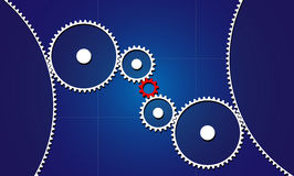 Red connecting gear Royalty Free Stock Photos
