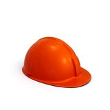 Red constructing helmet side view Royalty Free Stock Images