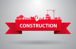 Red construction banner. For infographics title or presentation vector illustration Royalty Free Stock Photos