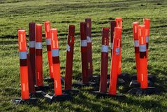 Red construction barrier bollards Royalty Free Stock Photos