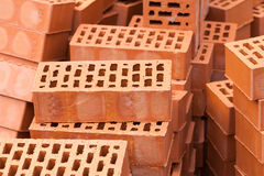 Red Construction Bricks Stones Pile. Stacks Stock Photography