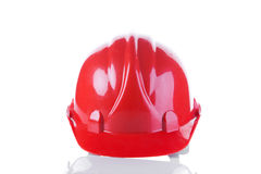 Red construction helmet Stock Images