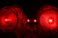 Red construction site lights at night Royalty Free Stock Photo