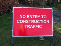 Red construction site sign no entry to construction traffic. Essex; england; uk Royalty Free Stock Images