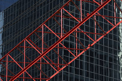 Red construktion cran in front of office building R03 Royalty Free Stock Photo