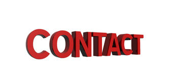 Red-contact. 3D render of red text on a white background, contact Stock Photo