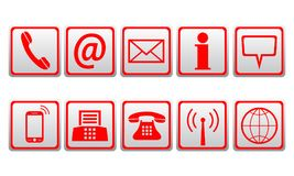 Red contact icons - vector royalty free illustration