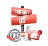 red contact us sign and icons Stock Photo