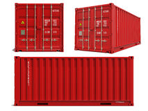 Red Container in 3D Isolated on White. Royalty Free Stock Image