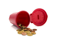 Red container with euro coins Royalty Free Stock Photo
