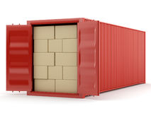 Red container packed boxes Royalty Free Stock Images