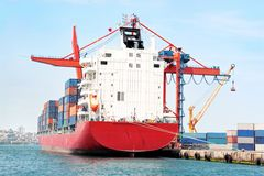 Red container ship Royalty Free Stock Photo