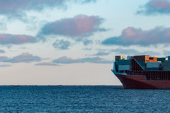 Red container ship Royalty Free Stock Images