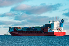 Red container ship Royalty Free Stock Photography