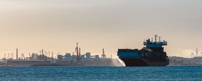 Red container ship Stock Photo