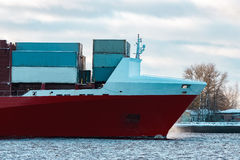 Red container ship Stock Image
