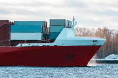 Red container ship Stock Images