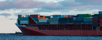 Red container ship Stock Photos