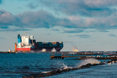 Red container ship Royalty Free Stock Image